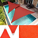 ShadeMart 16' x 16' x 16' Red Sun Shade Sail Triangle Canopy Fabric Cloth Screen, Water Permeable & UV Resistant, Heavy Duty, Carport Patio Outdoor - (We Customize Size)