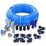 WYNNsky Shop Air Line Kit, 1/2 Inch OD×60 Feet PU Air Tube with Push to Connect Fittings, Industrial Type Quick Connect Coupler and Plug, 28PCS Garage Air Compressor Accessories Kit