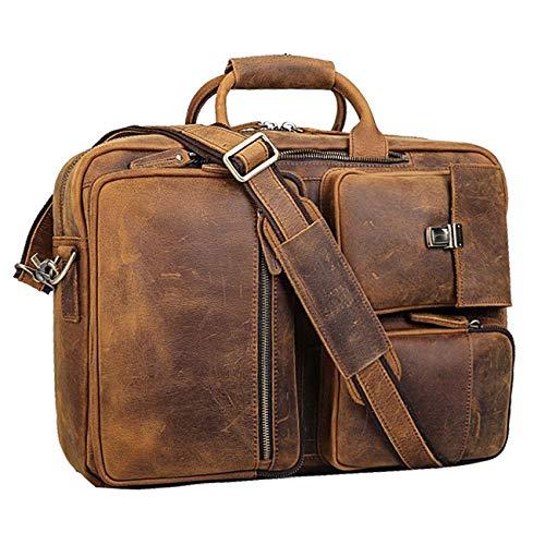 Vints Leder Cabrio Rucksack 15,6 Zoll Laptop Aktentasche Umhängetasche Travel Daypack für Männer Messenger Handtasche Laptop Aktentasche groß (Hellbraun)