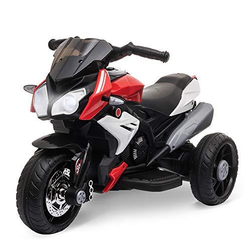 HOMCOM Moto électrique pour Enfants 3 Roues 6 V 3 Km/h Effets Lumineux et sonores Rouge