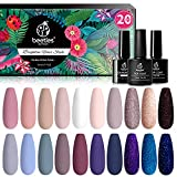 Beetles 20Pcs Gel Nail Polish Kit, with Glossy & Matte Top Coat and Base Coat- Girls Night Collection Popular White Nude Gray Glitters Soak Off Gel Polish