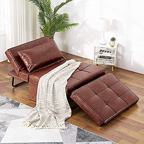 Vonanda Leather Ottoman Sleeper Chair Bed, Small Modern Couch Multi-Position Convertible with Selected Leather Fabrics and Unique Sturdy Frame for Small Space, Burgundy