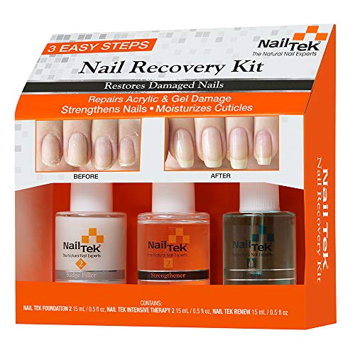 Nail Tek Nail Recovery Kit, Cuticle Oil, Strengthener, Ridge Filler - Restore Damaged Nails in 3 Steps