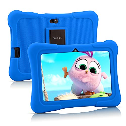 Pritom 7 inch Kids Tablet, Quad Core Android 10, 16GB, WiFi, Bluetooth, Dual Camera, Educationl, Games,Parental Control, Kids Software Pre-Installed with Kids-Tablet Case (Dark Blue)