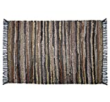 COTTON CRAFT Liverpool Handwoven Reversible Leather Chindi Area Rug, 3' X 5',Tan Multicolor