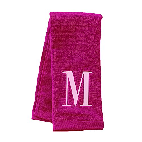 GiftsForYouNow Embroidered Initial Hot Pink Golf Towel