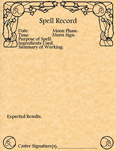 Set of 10 Spell Record Worksheets for Book of Shadows,...
