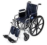 Medline Excel 2000 Wheelchair, 18' Wide Seat, Desk Length Arms, Elevating Legrests, Navy Upholstery, Chrome Frame
