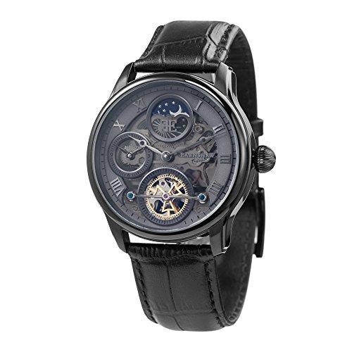 Thomas Earnshaw Longitude Shadow ES-8063-03 Herren-Armbanduhr mit Automatikgetriebe, graues Zifferblatt mit Skelett-Anzeige, schwarzes Lederarmband