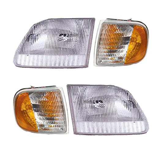4 Piece Headlight & Corner Light Set - Compatible with 97-03 Ford Pickups F150 F250 (from 8/96 and up)
