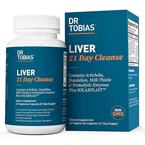 Dr Tobias Liver 21 Day Cleanse - Solarplast, Milk Thistle (Silymarin), Artichoke, Dandelion & Proteolytic Enzymes Supplement