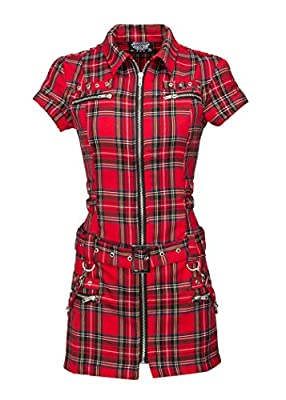 ✔️ Womens Red Plaid Tartan Punk Mini Dress with Buckles and Lacing ✔️ Infuse your style with a little punk fashion with this rad mini dress. This edgy number features red plaid design throughout, closes with a front zipper and is accessorized with ey...