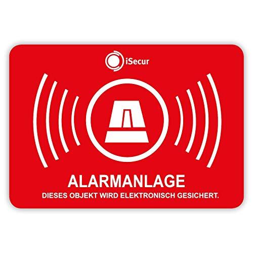 5er Aufkleber-Set Alarmanlage I hin_454 5x3,5cm I Achtung Objekt Wird elektronisch Alarm-gesichert I für Fenster-Scheibe Tür I außenklebend wetterfest