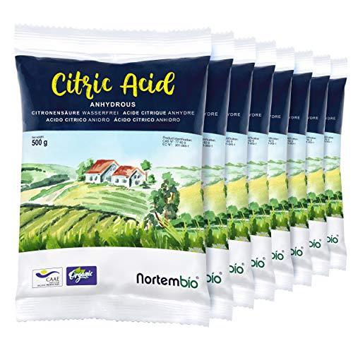 Nortembio Acido Citrico 4 kg (8x500g). Polvere Anidro, 100% Puro. per Produzione Biologica. E-Book...