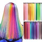 LANSE 24 unids/pack 24 colores 21 pulgadas extensiones de pelo recto colorido clip sinttico largo...