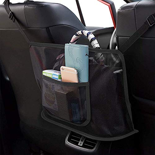 51Bo9iyyFFL 🚙【EXTRA STORAGE】The Car Net Pocket Handbag Holder completely covers the gap between the front two seats and make them your extra storage. It can stretch to the perfect size based on different spaces between the driver and the passenger seats of various car models. 🚙【PET BARRIER】Adopted thickened polyester fiber with strong flexibility, It also serves as a special barrier that prevents naughty pets in the back seat from disturbing your daily drives. 🚙【SAFE DRIVING】Net Pocket Handbag Holder helps reduce distracted driving by providing easy access to your purse contents without taking your eyes off the road. It eliminates the need for inconvenient purse placement at your passenger's feet.