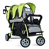 Foundations Triple Sport 3-Seat Tandem Stroller with Canopy, 5-Point Harness, Foot-Brake (Lime)