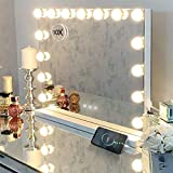 Hansong Vanity Mirror with Lights,Makeup Hollywood Lighted Up Mirror with 10X Magnification and USB Charging Port,15 Dimmable LED Lights for Dressing Room Bedroom Tabletop or Wall Mounted