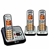 AT&T EL52300 3-Handset DECT 6.0 Cordless Phone with Digital Answering System and Caller ID, Handset Speakerphone, Wall-Mountable, Silver/Black