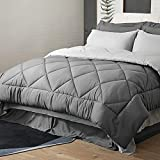 Bedsure Queen Bed in A Bag - 8 Pieces Reversible Bedding Sets, Bed Sets Queen with Comforter and Sheets, Grey Bedding Comforter Sets