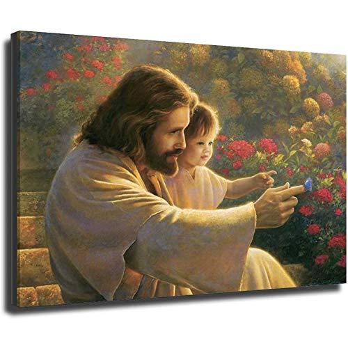 Christus mit Baby lächelndem Jesus Poster auf Leinwand, moderne Kunst, dekorative Wandbilder zur Heimdekoration, 20 x 30 cm