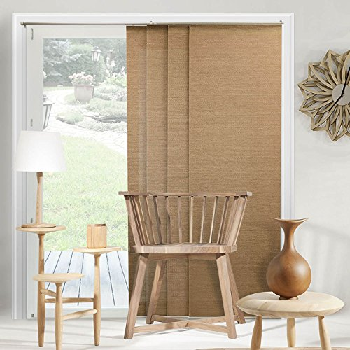 Chicology Adjustable Sliding Panels, Perfect Vertical Blinds for Large Windows, Open Spaces and Room Dividers Trimmable Length, Track Width X 96' Height, Birch Truffle (Privacy & Natural Woven)