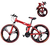 Mountain Bike for Adult Men and Women, High Carbon Steel Dual Suspension Frame Mountain Bike, 21 Speed Gears Folding Outroad Bike with 26 Inches 6-Spoke Rims (Red)