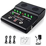Electric Guitar Amplifier Mini Portable Rechargeable Guitar Practice Amp with Built-in Delay Distortion Effects, 3 Power Outlets, AUX IN and Headphone Jack