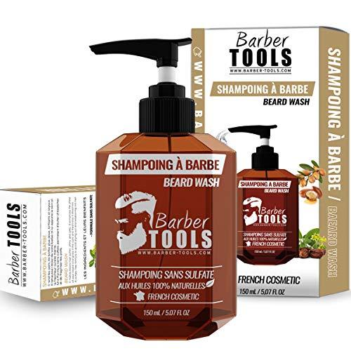 Shampoo per barba SENZA SOLFATO per barba - 150ml a base di Olio di Argan e Olio di Jojoba | Per la manutenzione e la cura della barba - MADE IN FRANCE ✮ BARBER TOOLS ✮
