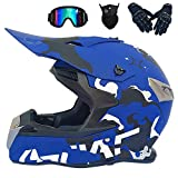XIAOTIAN Motocross Helmet Adult, Youth Kids DOT Approved Full Face Motorcycle Mountain Dirt Bike ATV MTB BMX MX Off Road Motorbike Downhill Racing Helmet for Men Women,Blue,XXL