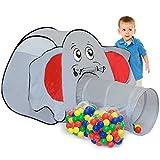 Tente de jeu igloo en forme d'éléphant pour enfants avec tunnel