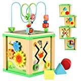 Lewo Wooden Activity Cube Bead Maze Shapes Sorter Educational Toys for Toddler Kids