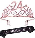 24th Birthday Gifts for Girl, 24th Birthday Tiara and Sash pink, HAPPY 24th Birthday Party Supplies, 24 & Fabulous Glitter Satin Sash and Crystal Tiara Birthday Crown for 24th Birthday Party Supplies