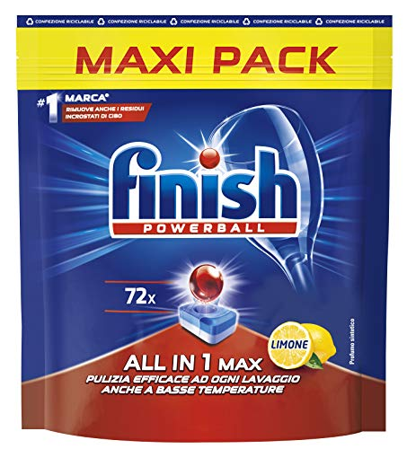 Finish, 72 Pastiglie Per Lavastoviglie, All In One Max, Limone - 7250 Ml