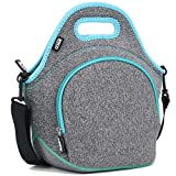 "QOGiR Insulated Neoprene Lunch Bag Tote with Zipper Pocket & Strap - Large 12' x 12' x 6.5' inch(Fits Containers up to 8'Lx7""Hx6'W) ~ Dark Grey"
