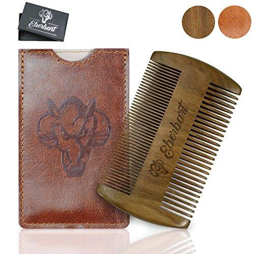 Eberbart Pettine barba legno uomo (Legno Sandalo + Custodia) – Pettine baffi tascabile per la cura della barba inl. custodia in pelle sintetica + eBook gratuito