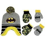 DC Comics Toddler Boys Batman Hat and 2 Pair Mittens Cold Weather Set, Age 2-4 (Grey - Yellow Design Set)