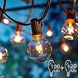 Guirlande Lumineuse Exterieure 2Pcs 17 Mètre avec 120 Ampoules,OxyLED G40 Guirlande Guinguette Extérieur,étanche IP44, E12 Base Pour Patio Jardin Extérieur Lumières de Guirlande,Blanc Chaud