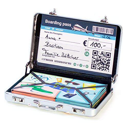 Chroma Products Reise Geldgeschenk Koffer oder für Gutscheine - Mini Reisekoffer aus Aluminium mit Schnappverschluss, Gepäckstapel und Bordkarte