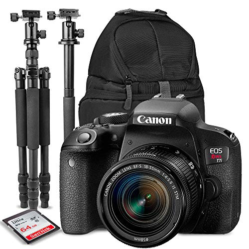 Canon EOS Rebel T7i DSLR Camera with EF-S 18-55mm f/4-5.6 is Lens + Accessory Bundle & Travel Kit