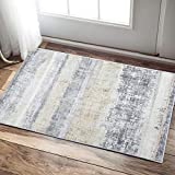 jinchan Contemporary Area Rug Doormat for Kitchen 2'x 3'3' Gold Yellow Floorcover Abstract Indoor Soft Mat for Bedroom Living Room