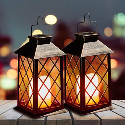 Solar Laterne mit LED Kerze und Täuschend echt Wirkenden Flacker-Effekt, OxyLED IP44 Festive Light für Deko Garten(2 Stück)