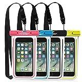 ivoler [Pack de 4] Pochette Étanche Téléphone [Certifiée IPX8] Etui/Housse/Coque Étanche Smartphones Universel Sac Protection pour iPhone, Samsung, Huawei, Jusqu'à 6,5'' (Nior+Bleu+Vert+Rose)