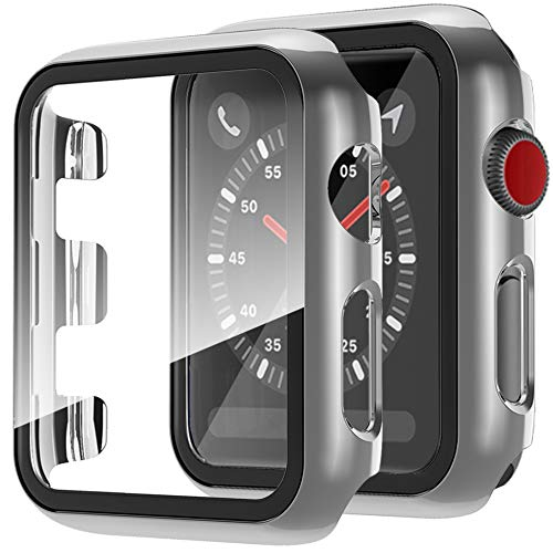 Compatible with Apple Watch Series 3 2 1 Case with Screen Protector 42mm, Full Coverage Anti-Scratch Screen Protector Protective Case Cover for Apple Watch 42mm Series 3 2 1