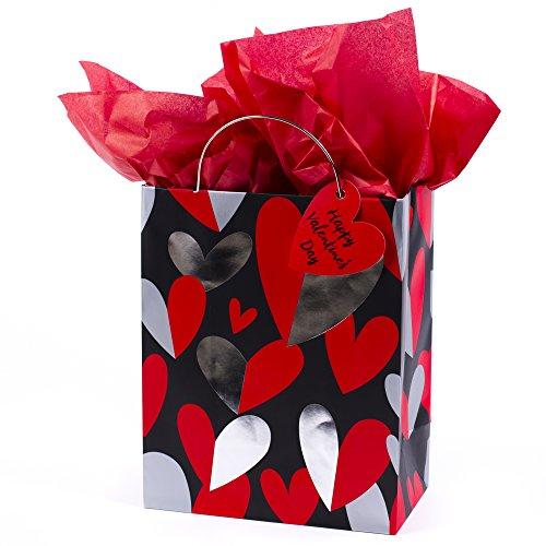 Hallmark 9' Medium Valentine's Day Gift Bag with Tissue Paper (Red & Silver Heart)