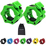 Strainho Olympic Weight Bar Clamps - 2 inch Barbell Plate Collars - Quick Release Olympic Barbell Clips for Weightlifting, Olympic Lifts and Strength Training (Green)
