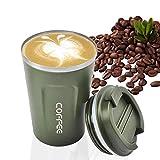 Taza de café, MOMSIV al vacío, reutilizable a prueba de fugas, taza de café de doble pared, aislamiento de acero inoxidable, taza de viaje para café caliente, té y bebidas frías (verde)