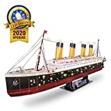 CubicFun 3D Puzzles for Adults RMS Titanic Toys Model Ship 34.6'', Difficult Jigsaw Family Puzzles and Cruise Ship Gifts Home Decoration for Men and Women, 266 Pieces(Large with LEDs)