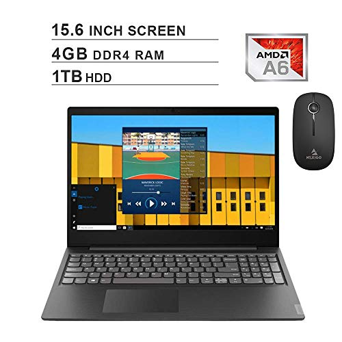 2020 Newest Lenovo Premium IdeaPad S145 15.6 Inch Laptop (AMD A6-9225 up to 3.1GHz, 4GB DDR4 RAM, 1TB HDD, AMD Radeon R4, Webcam, Windows 10 S) (Black) + NexiGo Wireless Mouse Bundle