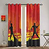 Homrkey Teen Room Rustic Curtain Men Playing Baseball in The Town City Park Tall Buildings Urban Scenery Soundproof Shade W42 x L63 Inch Red Yellow Black